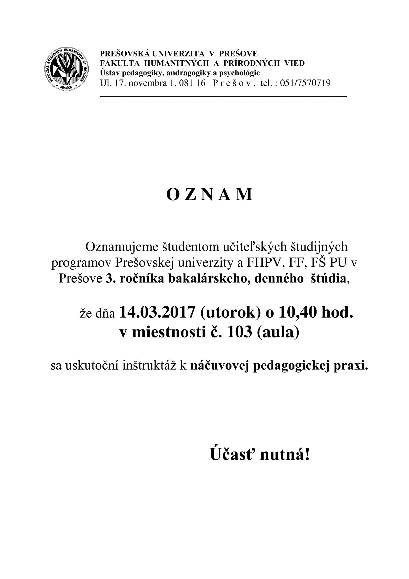 6559ed78e OZNAM - Inštruktáž k náčuvovej pedagogickej praxi ...